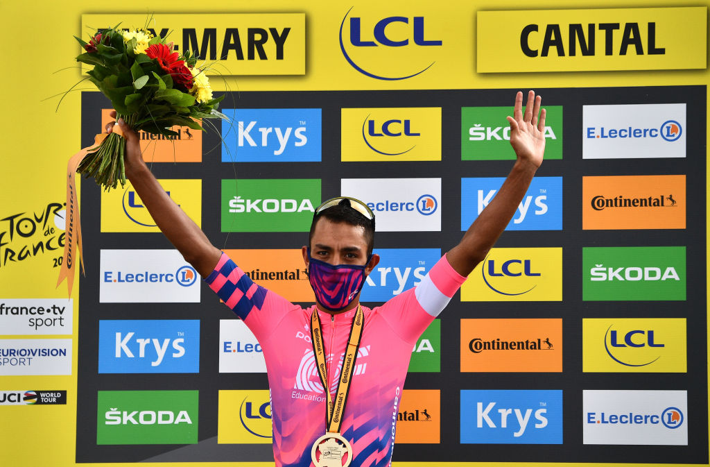 CANTAL FRANCE SEPTEMBER 11 Podium Daniel Felipe Martinez Poveda of Colombia and Team EF Pro Cycling Celebration Mask Covid safety measures Medal Flowers during the 107th Tour de France 2020 Stage 13 a 1915km stage from ChtelGuyon to Pas de PeyrolLe Puy Mary Cantal 1589m TDF2020 LeTour on September 11 2020 in Cantal France Photo by AnneChristine Poujoulat PoolGetty Images
