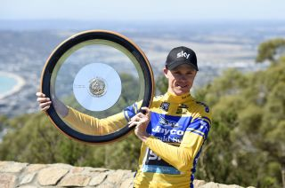 Chris Froome with the Jayco Herald Sun Tour winner's trophy