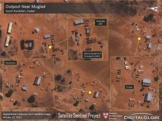 This image is one of several released in the first report from the Satellite Sentinel Project observing human rights issues in Sudan using satellites. Actor and activist George Clooney is spearheading the effort.