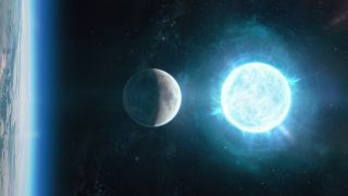 The white dwarf ZTF J1901+1458 is depicted above the moon in this artistic representation; in reality, the white dwarf lies 130 light-years from Earth in the constellation Aquila, the eagle.