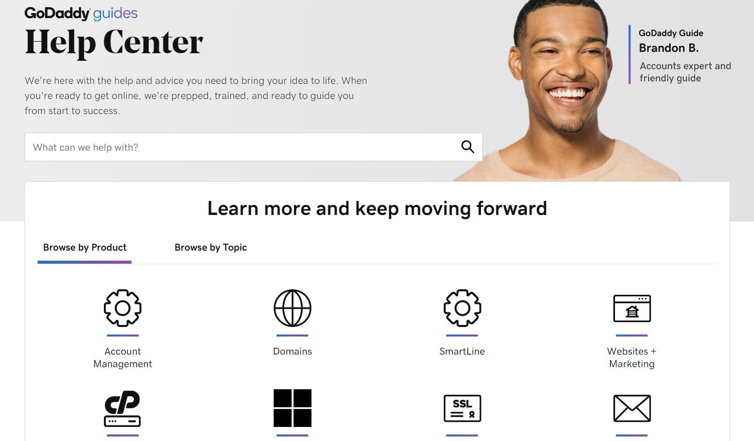 GoDaddy's help center homepage
