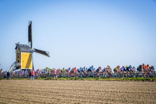 TOPSHOT The peleton rides past a windmill during the Amstel Gold Cycling Race in Maastricht Netherlands on April 21 2019 Photo by Marcel van Hoorn ANP AFP Netherlands OUT Photo credit should read MARCEL VAN HOORNAFP via Getty Images