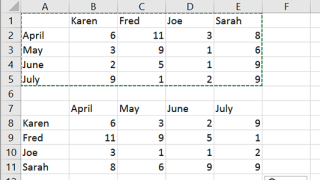 How to transpose columns and rows using paste special in Excel