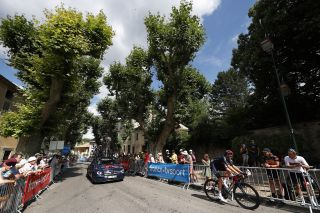 Luke Rowe (Ineos Grenadiers) had a long lonely ride to the finish of stage 11 of the Tour de France where he missed the time limit
