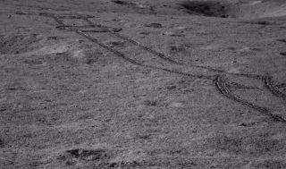 Tracks made by Yutu-2 while navigating hazards during lunar day 8, which occurred during late July and early August 2019.