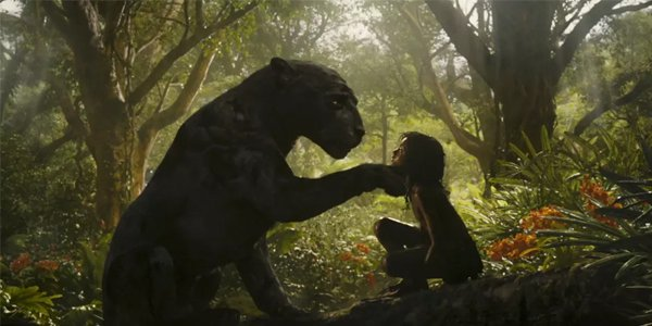 Mowgli and Bagheera sitting in the jungle in Mowgli Legend of the Jungle