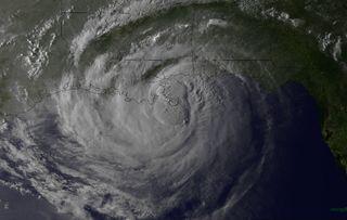 Hurricane Isaac landfall picture.