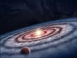 An artist's depiction of planets forming from the disk around the young star GM Aurigae.