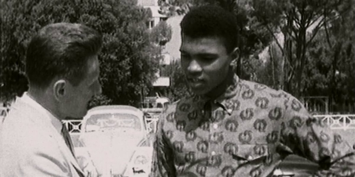 Archival footage of Cassius Clay giving an interview in Blood Brothers: Malcolm X and Muhammad Ali