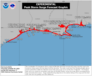 A National Hurricane Center graphic maps anticipated storm surge during landfall Friday (Oct. 9).