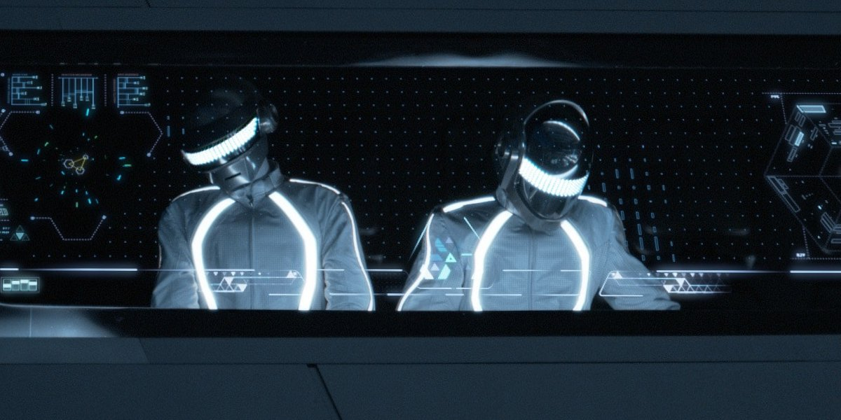 Tron: Legacy Daft Punk manning the turntables at the End of Line club