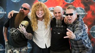The Big 4 of thrash: Slayer's Kerry King, Megadeth's Dave Mustaine, Anthrax's Scott Ian, Metallica's James Hetfield