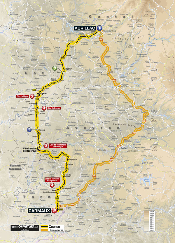 Stage 10 map, Tour de France 2011