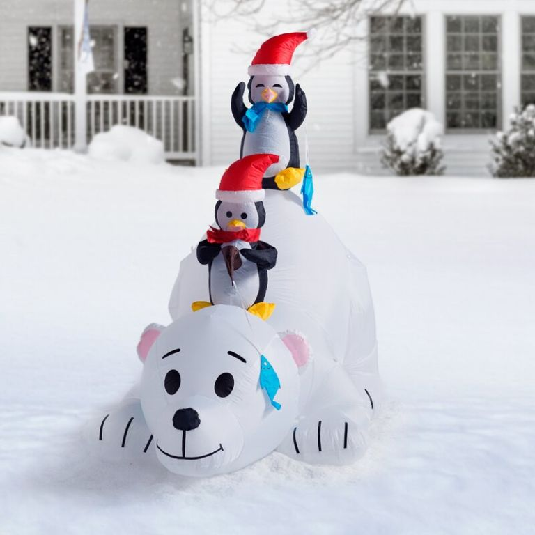polar bear and penguins inflatable