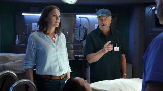 Jorja Fox as Sara Sidle and William Petersen as Dr. Gil Grissom in CBS's 'CSI: Vegas'