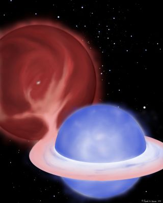 "An artist's conception showing a so-called ""blue straggler"" star being created by stealing mass from its partner in a binary star system. Soon the giant star (seen towards the upper left of the image) will donate the remainder of its envelope, leaving onl"
