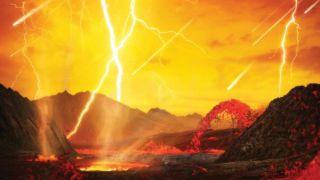 An artist's depiction of a meteor shower on Venus.