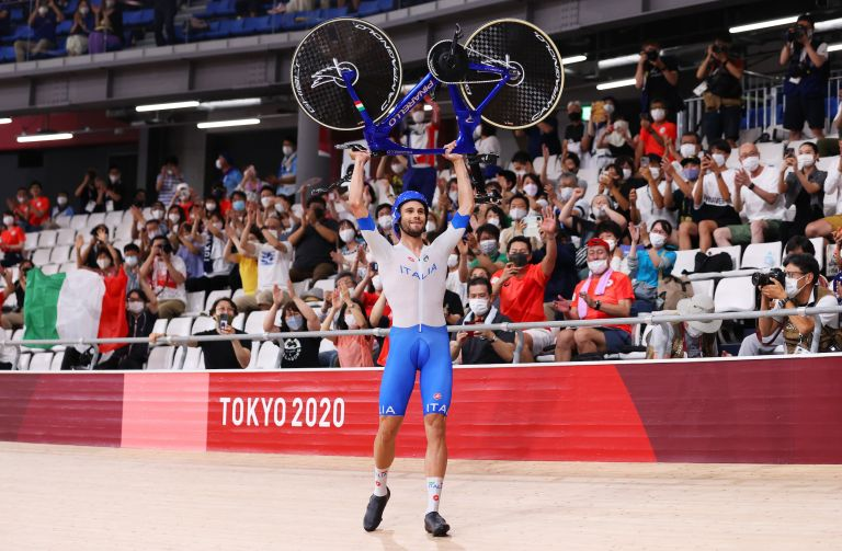 Filippo Ganna celebrates team pursuit gold at the Tokyo 2020 Olympic Games