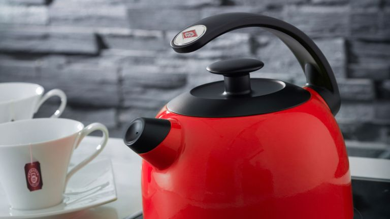 best stove top kettles: Wesco whistling water kettle lifestyle image with mug