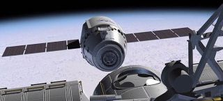 Dragon Spacecraft in Orbit Illustration