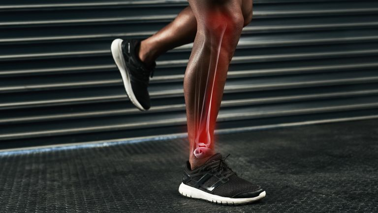 Athlete's legs with the location of their bones superimposed to illustrate how to build healthy bones