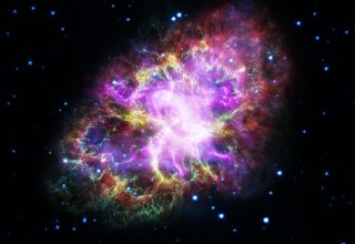 A composite image of the Crab Nebula in radio, X-ray, infrared, ultraviolet and visible light