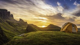 types of tent: tent at sunset
