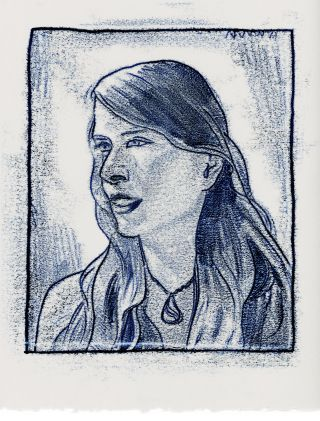 Monotype print portrait of a woman