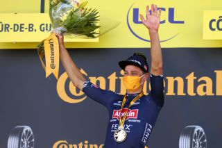 MRDEBRETAGNE GUERLDAN FRANCE JUNE 27 Mathieu Van Der Poel of The Netherlands and Team AlpecinFenix stage winner celebrates at podium during the 108th Tour de France 2021 Stage 2 a 1835km stage from PerrosGuirec to MrdeBretagne Guerldan 293m LeTour TDF2021 on June 27 2021 in MrdeBretagne Guerldan France Photo by Michael SteeleGetty Images