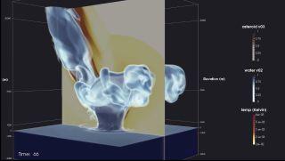 Asteroid impact video screenshot