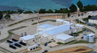 This is an aerial photo of the U.S. Air Force Space Surveillance Network on Kwajalein Atoll slated for initial operations in late 2019.