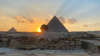 The sun set over the right shoulder of the Sphinx during the spring equinox this year.