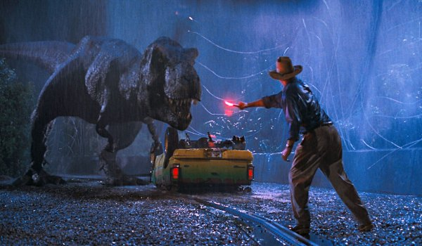 Jurassic Park Dr. Grant tries to lure a T-Rex with a flare
