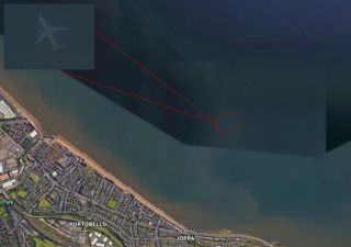 A ghostly image of an airplane shows up off the coast of Edinburgh on Google Earth.