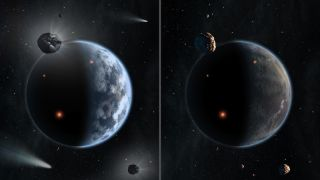 Earth is contrasted with a carbon-based alien planet.