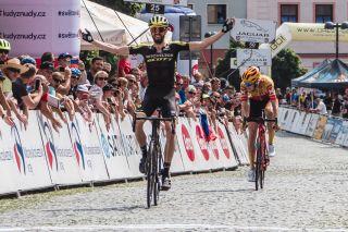 Czech Tour 2020 4th stage Mohelnice Sternberk 1726 km 09082020 Damien Howson AUS Mitchelton Scott Markus Hoelgaard NOR UnoX Pro Cycling Team photo Igor StancikBettiniPhoto2020