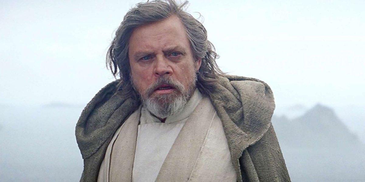 Mark Hamill looks surprised as Luke Skywalker Star Wars: The Last Jedi