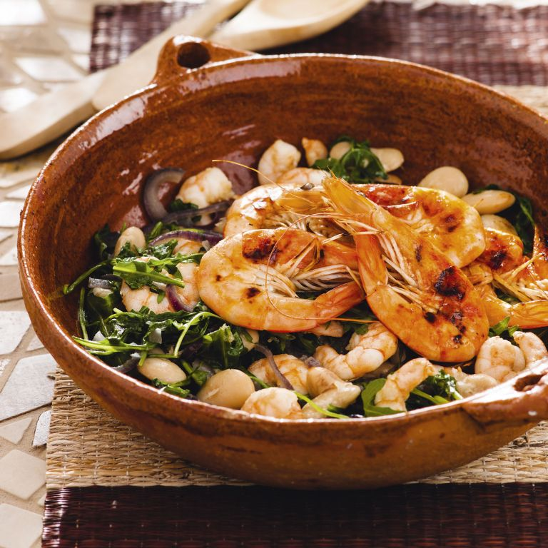 Prawns white beans red onion rocket - prawn recipes - easy - summer recipes - woman&home July 2013
