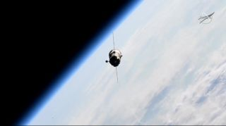 An uncrewed Soyuz MS-14 spacecraft carrying the humanoid robot Skybot F-850 and supplies approaches the International Space Station during an aborted docking attempt on Aug. 24, 2019.