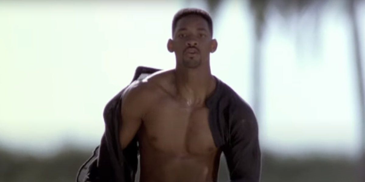 Will Smith running with his shirt open in Bad Boys.