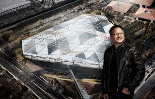 Jen-Hsun Huang and Nvidia HQ render