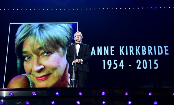 William Roache pays tribute to Anne Kirkbride on stage during the 2015 National Television Awards