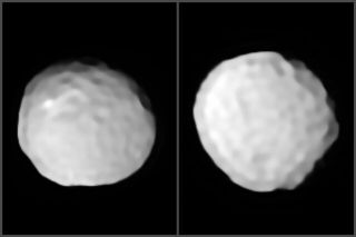A pair of images show two views of Pallas with its pock-marked surface.