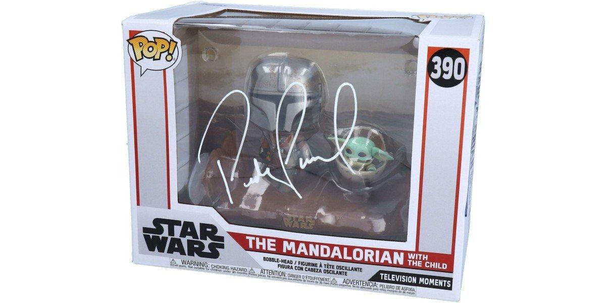 Pedro Pascal Signed Mandalorian And Baby Yoda Funko Pop Figure