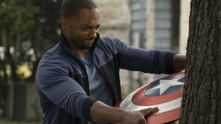 Sam Wilson struggled with the Shield as it is stuck in a tree.