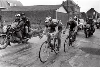Eddy Merckx leads Roger De Vlaeminck at the 1973 Paris-Roubaix with Merckx wining the race for a third time
