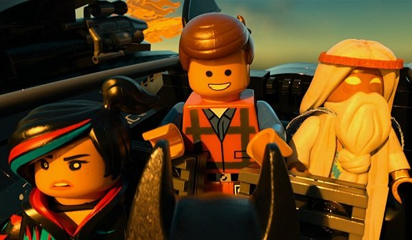The Lego Movie Wyldstyle Emmet and Vitruvius aboard the Batwing