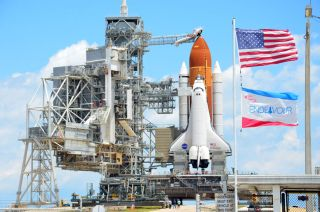 NASA's space shuttle Endeavour stands poised to launch on its final mission STS-134, its 25th and last mission before retirement. Liftoff is set for May 16, 2011 from Pad 39A at the Kennedy Space Center in Florida.
