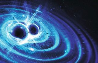 Artist impression of two black holes colliding and emitting gravitational waves.