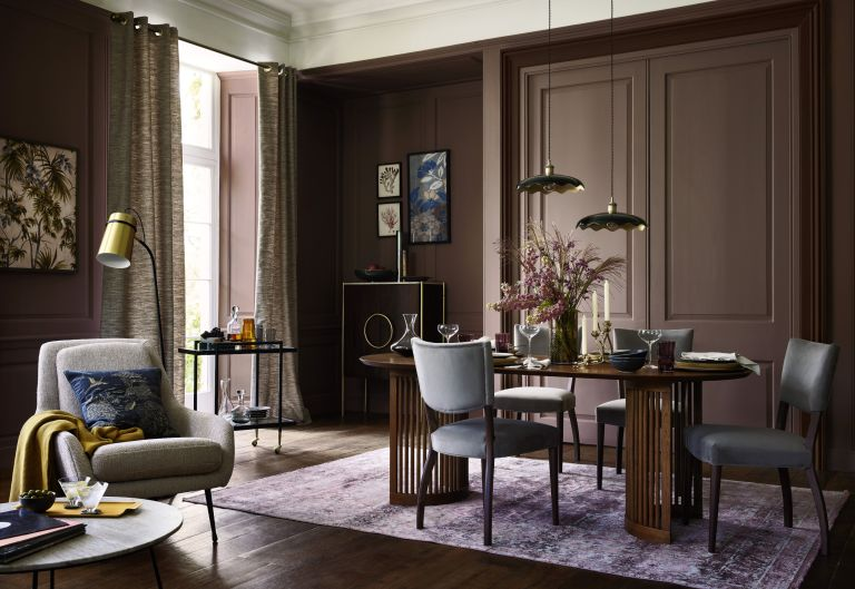 Dining room with curtains hanging